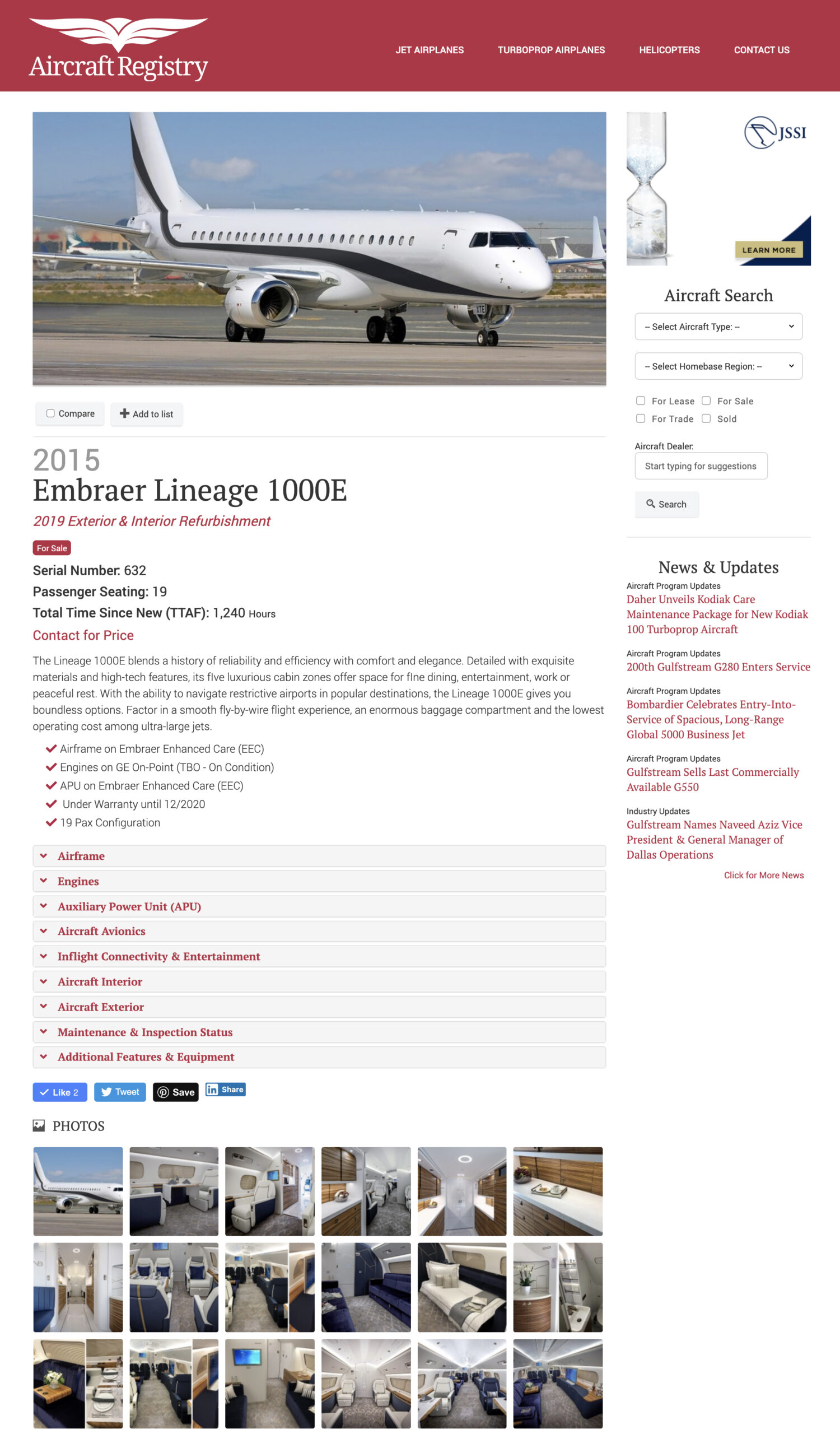 Aircraft Registry - Embraer Lineage 1000E